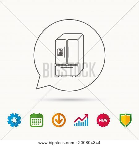 American fridge icon. Refrigerator with ice sign. Calendar, Graph chart and Cogwheel signs. Download and Shield web icons. Vector
