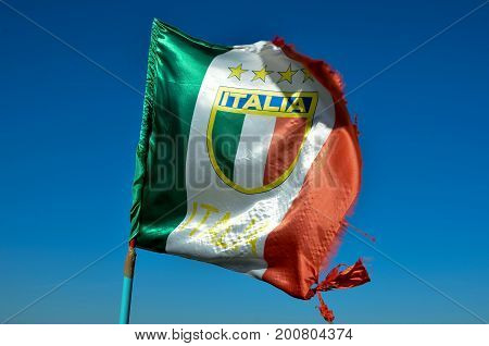 flag italy blow in the wind close up photo