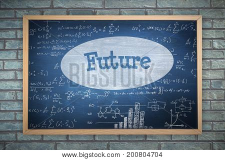 Image of ac chalkboard against future against blue chalkboard