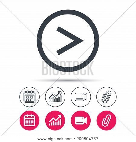 Arrow icon. Next navigation symbol. Statistics chart, calendar and video camera signs. Attachment clip web icons. Vector