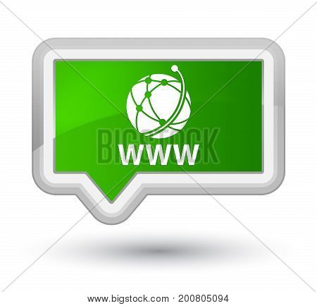Www (global Network Icon) Prime Green Banner Button