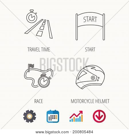 Motorcycle helmet, race timer and travel time icons. Start race linear sign. Calendar, Graph chart and Cogwheel signs. Download colored web icon. Vector