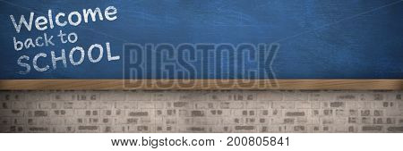 Welcome back to school text against white background against bueboard on brick wall
