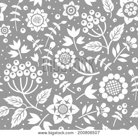 Berries and twigs, decorative background, seamless, gray, vector. White berries and twigs with leaves on dark gray background. Floral pattern.