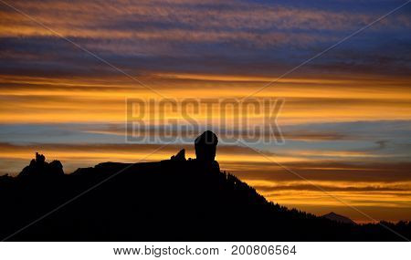 Intense sunset, Roque Nublo, Gran canaria, Canary islands