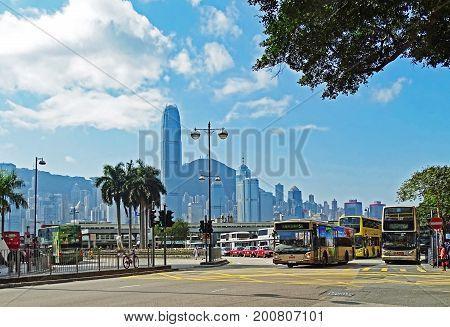 Tsim Sha Tsui, Hong Kong - February 09, 2016: Some buses at the bus station at Salisbury Road in Tsim Sha Tsui.