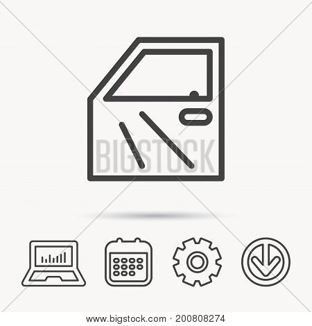 Car door icon. Automobile lock sign. Notebook, Calendar and Cogwheel signs. Download arrow web icon. Vector