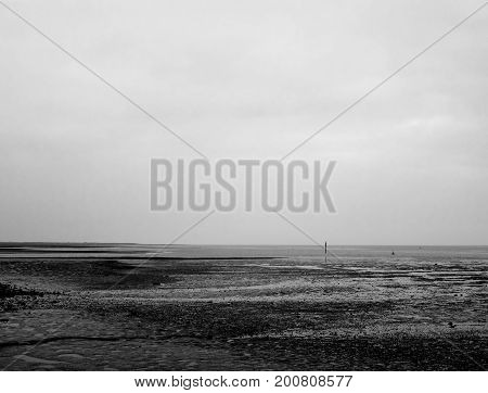 Mono Black And White Texture Pattern Of Mudflats And Empty River And Sky