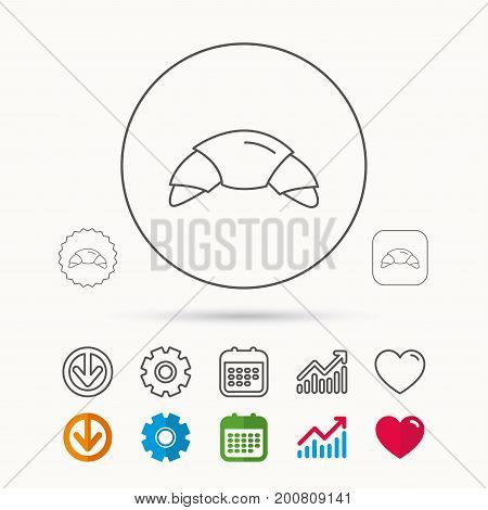 Croissant icon. Bread bun sign. Traditional french bakery symbol. Calendar, Graph chart and Cogwheel signs. Download and Heart love linear web icons. Vector