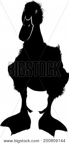 Duckling silhouette vector illustration . silhouette duckling