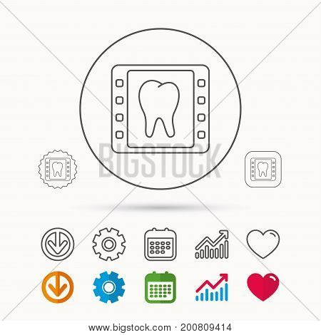 Dental x-ray icon. Orthodontic roentgen sign. Calendar, Graph chart and Cogwheel signs. Download and Heart love linear web icons. Vector