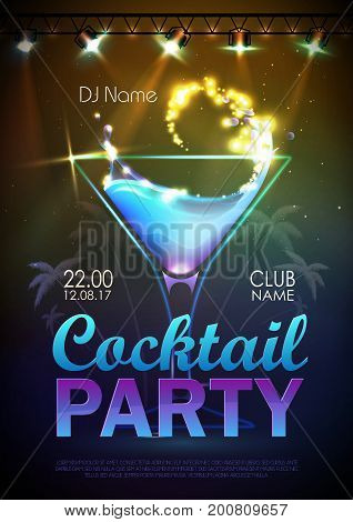 Disco Background. Cocktail Party Poster