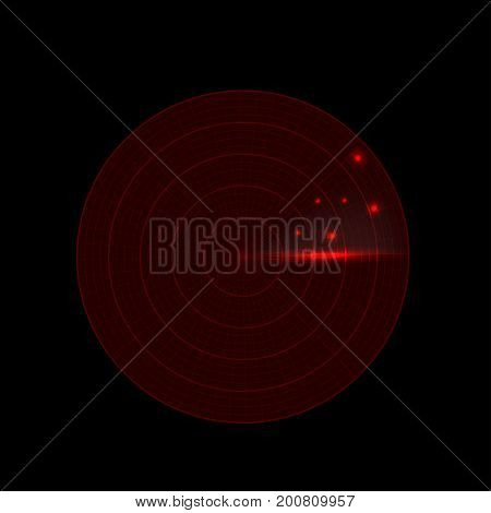 Realistic red radar screen. Military search visual scanner system