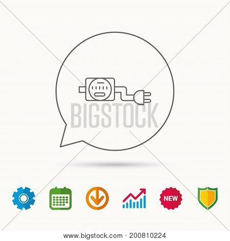 Electric counter icon. Electricity with plug sign. Calendar, Graph chart and Cogwheel signs. Download and Shield web icons. Vector