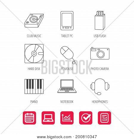 Tablet PC, USB flash and notebook laptop icons. Club music, hard disk and photo camera linear signs. Piano, headphones icons. Report document, Graph chart and Calendar signs. Vector