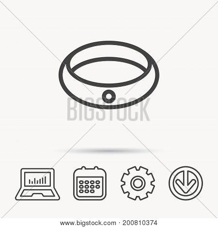 Diamond engagement ring icon. Jewelery sign. Notebook, Calendar and Cogwheel signs. Download arrow web icon. Vector
