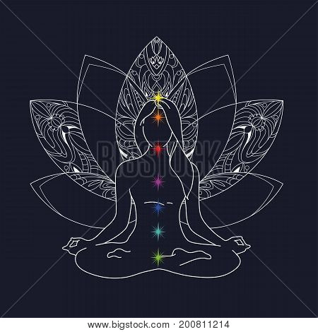 Woman yoga pose. Lotus position silhouette. Vector illustration. Meditation for disclosure of chakras. Flower monochrome icon mandala