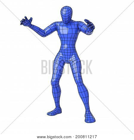 Wireframe Human Figure In Sorcerer Pose Making Magic With Open Arms And Looking Down