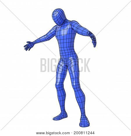 Wireframe Human Figure With Open Arms And Looking Down As If He Were To Embrace Something Or Somebod