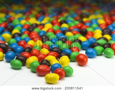 Various Colors of Many Candy Coated Chocolate