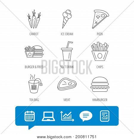 Hamburger, pizza and soft drink icons. Tea bag, meat and chips fries linear signs. Ice cream, carrot icons. Report file, Graph chart and Chat speech bubble signs. Laptop and Calendar web icons. Vector