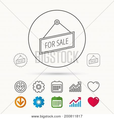 For sale icon. Advertising banner tag sign. Calendar, Graph chart and Cogwheel signs. Download and Heart love linear web icons. Vector