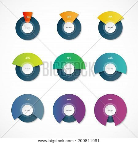 Infographic pie chart templates. Share of 10, 20, 30, 40, 50, 60, 70, 80, 90 percent. Vector banner. Can be used for chart, graph, data visualization, web design