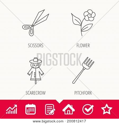 Scissors, flower and pitchfork icons. Scarecrow linear sign. Edit document, Calendar and Graph chart signs. Star, Check and House web icons. Vector