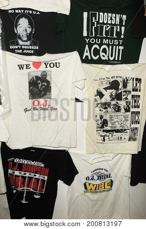LOS ANGELES - AUG 17: Bootleg T-Shirts at the OJ Simpson pop-up museum at the Coagula Curatorial Gallery on August 17, 2017 in Los Angeles, California