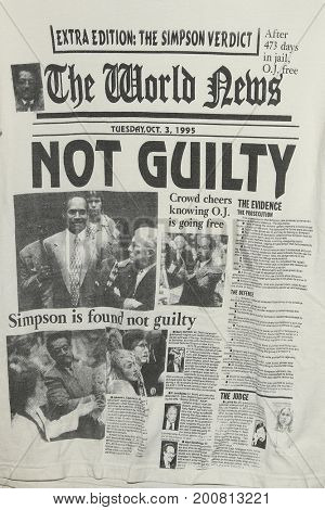 LOS ANGELES - AUG 17: OJ Simpson memorabilia at the OJ Simpson pop-up museum at the Coagula Curatorial Gallery on August 17, 2017 in Los Angeles, California