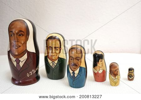 LOS ANGELES - AUG 17: OJ Simpson trial stack dolls at the OJ Simpson pop-up museum at the Coagula Curatorial Gallery on August 17, 2017 in Los Angeles, California