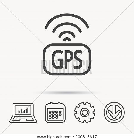 GPS navigation icon. Map positioning sign. Wireless signal symbol. Notebook, Calendar and Cogwheel signs. Download arrow web icon. Vector