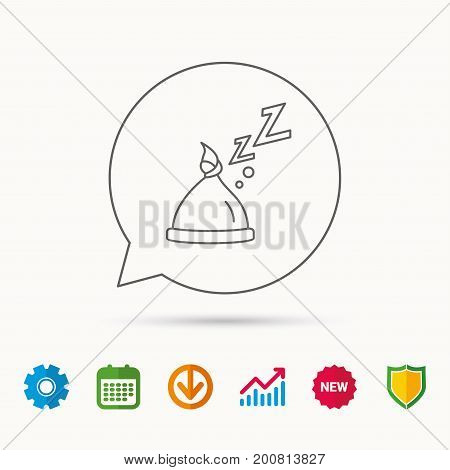 Baby hat with nodule icon. Newborn cap sign. Toddler sleeping clothes symbol. Calendar, Graph chart and Cogwheel signs. Download and Shield web icons. Vector
