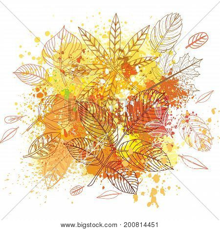 Background of paint splashes and autumnal leaves