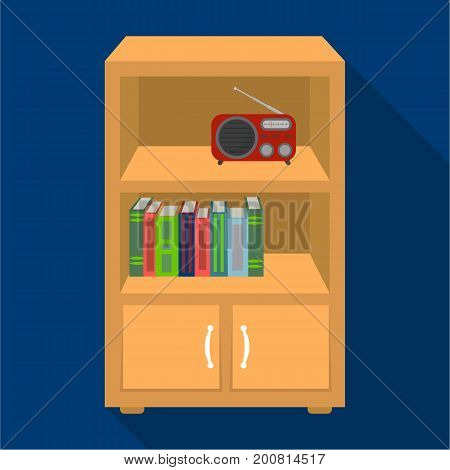 A bookcase with shelves and a radio receiver. Furniture and interior single icon in flat style Isometric vector symbol stock illustration .