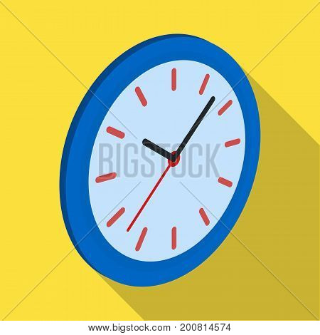 Round wall clock. Office clock single icon in flat style Isometric vector symbol stock illustration .
