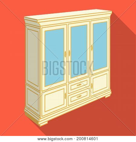 Cabinet with glass doors and drawers. Furniture and interior single icon in flat style vector Isometric symbol stock illustration .