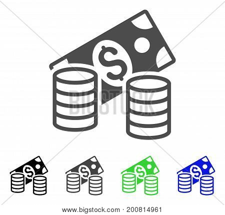 Cash flat vector pictogram. Colored cash, gray, black, blue, green icon variants. Flat icon style for graphic design.