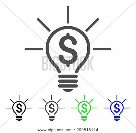 Financial Idea Bulb flat vector icon. Colored financial idea bulb, gray, black, blue, green pictogram variants. Flat icon style for web design.