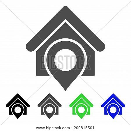 Realty Location flat vector pictogram. Colored realty location, gray, black, blue, green pictogram variants. Flat icon style for web design.