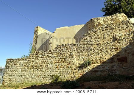 Historical old ruins of an ancient building in the Serra de Monchique mountain range