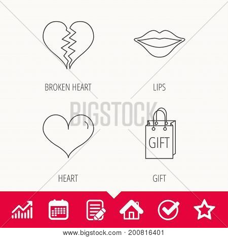 Love heart, kiss lips and gift icons. Broken heart linear sign. Edit document, Calendar and Graph chart signs. Star, Check and House web icons. Vector