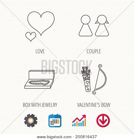 Love heart, jewelry and couple icons. Valentine amour arrows linear signs. Calendar, Graph chart and Cogwheel signs. Download colored web icon. Vector