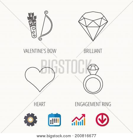 Love heart, brilliant and engagement ring icons. Valentine bow linear sign. Calendar, Graph chart and Cogwheel signs. Download colored web icon. Vector
