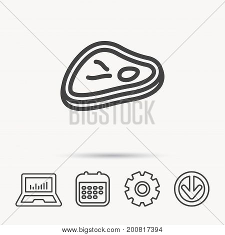 Meat icon. Beef steak sign. Barbecue meat slice symbol. Notebook, Calendar and Cogwheel signs. Download arrow web icon. Vector