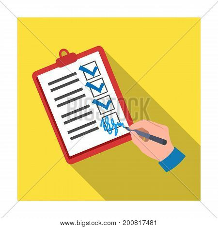Signature of the delivery document. Logistics and delivery single icon in flat style isometric vector symbol stock illustration .