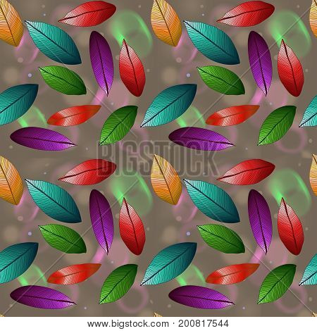 Raster colored leaves with degrade effect on white background. Foliage