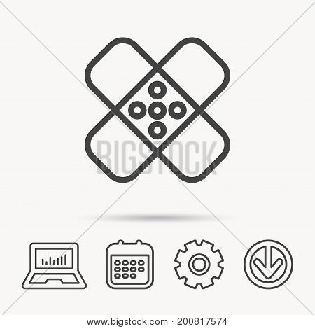 Medical plaster icon. Injury fix sign. Notebook, Calendar and Cogwheel signs. Download arrow web icon. Vector