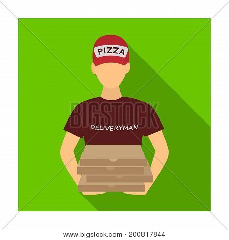 Courier on the delivery of pizza. Logistics and delivery single icon in flat style isometric vector symbol stock illustration .