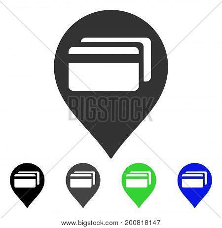 ATM Terminal Pointer flat vector pictogram. Colored atm terminal pointer, gray, black, blue, green icon versions. Flat icon style for web design.
